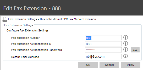 Fax Extension Settings