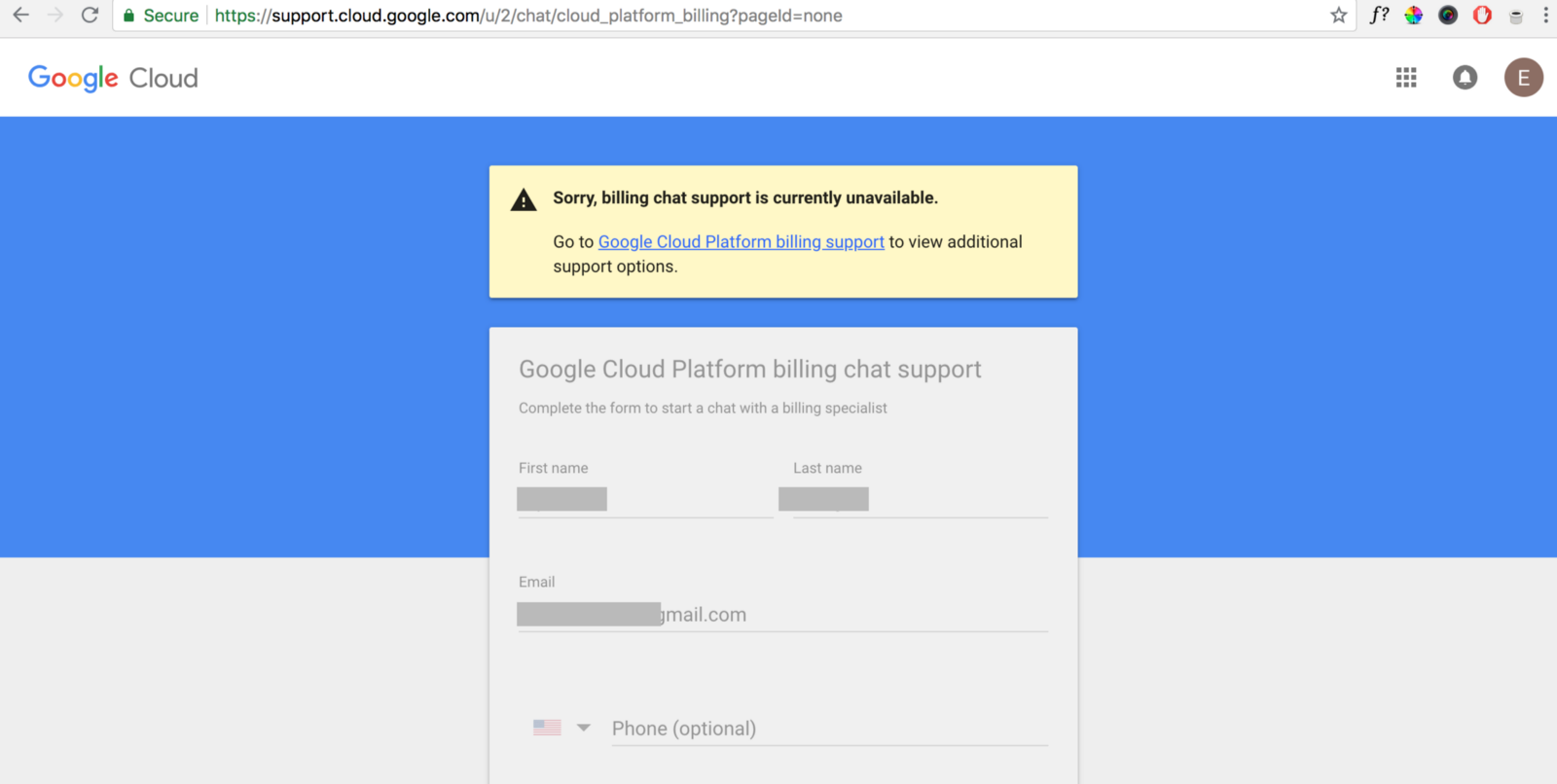 google cloud down 2