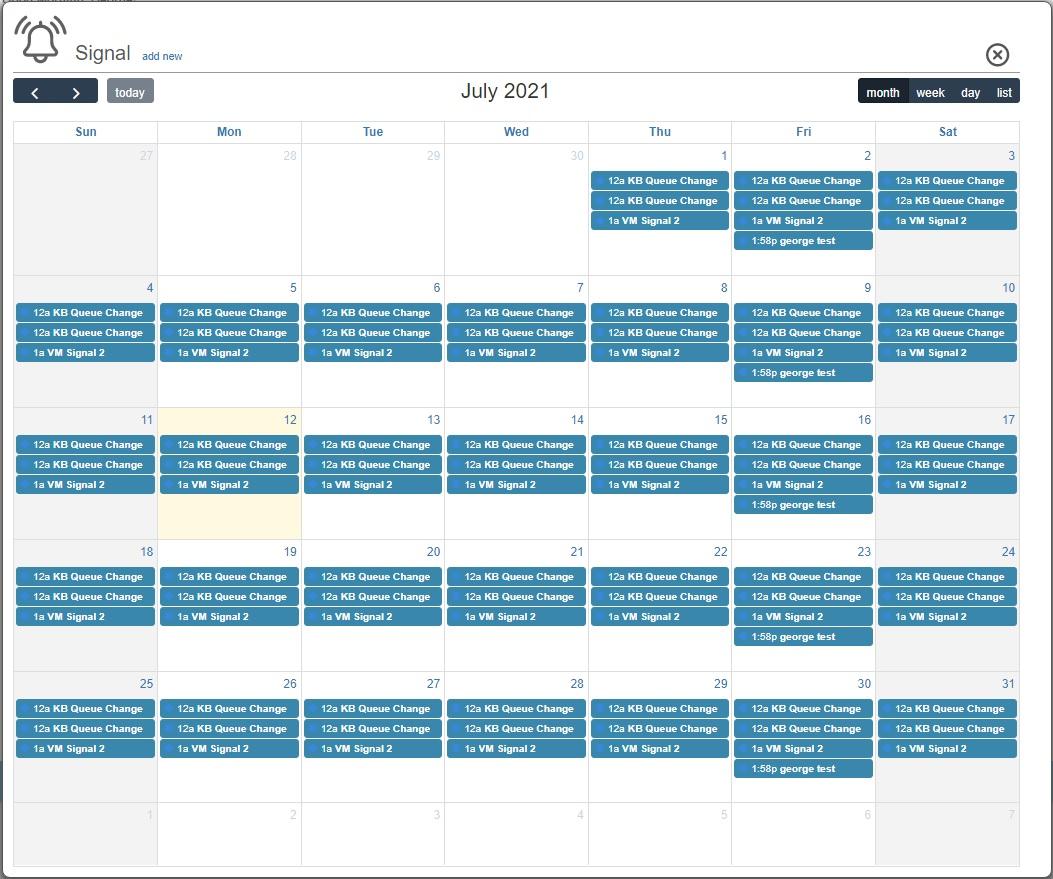 signal schedule