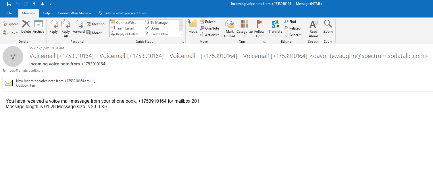 spoofed voicemail to email